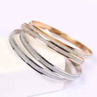 Women Girl Stainless Steel Scrub Bangle Cuff Bracelet Wristband Fashion Jewelery