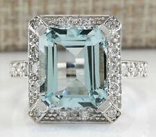 5.83 Carat Natural Aquamarine 14K White Gold Diamond Ring