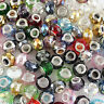 10pcs Faceted Crystal Glass Silver Big Hole Charm Beads fit European Bracelet