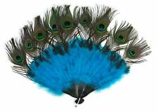 Peacock Tail Fan Feathers Marabou Mardi Gras Halloween Costume Accessory