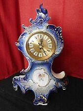 """Porz. Uhr, Batterie , Kobald/Gold , """" Karl Ens """" ; THÜRINGEN , H. ca. 30 cm"""