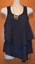 Womens Navy Blue BCX Sleeveless Shirt Tank Top & Necklace Size Small NWT NEW