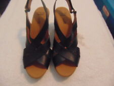 Women's Clarks Collection Black Strappy Wedge Sling Sandals-7