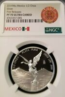 2019 MEXICO SILVER LIBERTAD 1/2 ONZA NGC PF 70 ULTRA CAMEO PERFECTION 1/2 OZ !