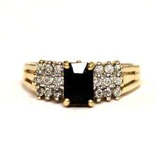 14k yellow gold .27ct SI1 H women's diamond sapphire ring 4.1g ladies estate