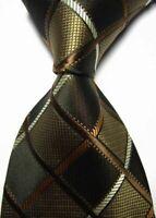 Hot! Classic Checks Brown Black JACQUARD WOVEN 100% Silk Men's Tie Necktie