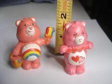 "Lot 2 Vtg Care Bears PVC Rainbow Paint Bucket AGC 1983 Hearts 2"" Toy Plastic"