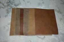 Scrap leather Genuine Cowhide Earth tone Fall  variety  6 pieces 8x6 inches