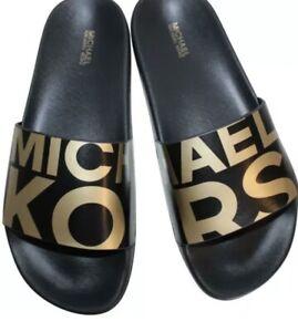 Michael Kors Gilmore Slides Black & Gold Metallic MK Logo Women's Size 11 BOXED