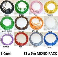 24 metres 1mm THIN WALL COPPER CORE AUTO CABLE 16.5A 12 Colours 12 x 2m