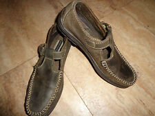 Comfy Hush Puppies Distressed Look Green Detail Stitch Loafers Size7 Medium