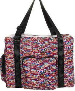 LUV Betsey Johnson Weekender Travel overnight MULTI COLOR SHOULDER LARGE BAG