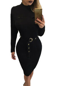 Black Fitted Stretch Ribbed Bodycon Dress With Belt in Small and Large