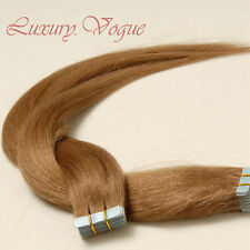 40Pcs Seamless Tape-in Extensions 100% Human Hair Remy A+ #8 (Medium Brown)