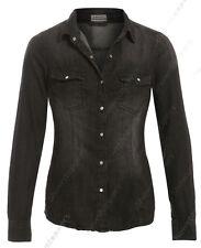 NUOVO Donna Camicia di jeans classica da aderente taglia 8 10 12 14 16 18 Nero