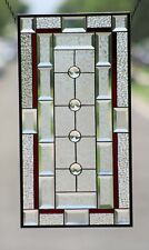 "•4 Jewels• Beveled Stained Glass Window Panel  25 1/2""x 13 1/2"""