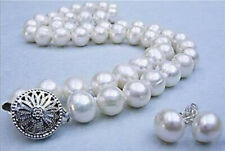 "Real Natural 10-11MM White Akoya Cultured Pearl necklace earrings set 18"" AAA"