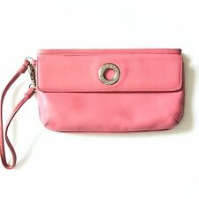 Lacoste Leather Zip Clutch Wristlet Cosmetic Case Bag Purse Pink Silver