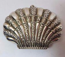 """Antico Francese argento Clam Shell """"Souvenir"""" Borsetta di seta interni c1900 40gms"""