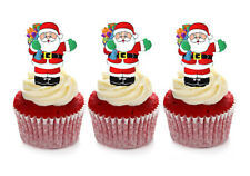 12 STAND UP CHRISTMAS SANTA CLAUS EDIBLE WAFER CUPCAKE CUP CAKE TOPPERS IMAGES