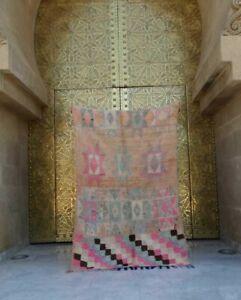 "Old Vintage Moroccan Handmade Boujad Boujaad Rug Berber Wool Rug 5'9""x 3'9"""