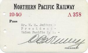 1940 NORTHERN PACIFIC RAILWAY ANNUAL PASS