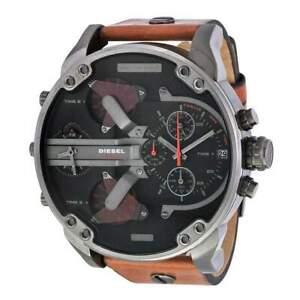 Diesel Mr. Daddy 2.0 Brown Leather 57mm Black Dial Chronograph Mens Watch DZ7332