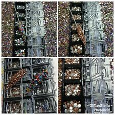 Nail Art Tray Box Bling Approximately Rose Gold Mixed Colours Crystals Gems