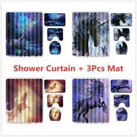 Unicorn Bathroom Rug Set Shower Curtain Bath Mat Non Slip Toilet Seat Lid Cover