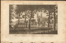 More details for 1779 ca antique print- cambridge - view, clare college and kings college chapel
