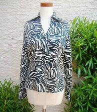 ZEBRA Black White Print V-neck Button Long Sleeve Top Shirt, Sz 6, Office Animal