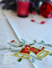 """Large Round Table Cloth Embroidered Christmas Bells D225cm (90"""")FFD003"""