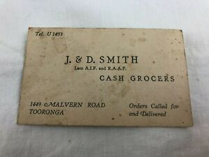 VINTAGE BUSINESS CARD - J & D SMITH CASH GROCERS MALVERN - LATE A.I.F & R.A.A.F