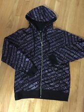 Rare KREW Skateboarding Black/Purple  Kr3w Apparel LOGO Hoodie Size Medium