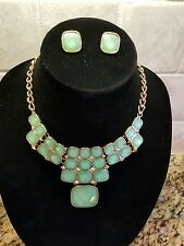 Fashion Bib Statement Necklace and Earring Set - Gold w/ Jade Facet Faux Stones