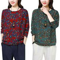 Women T Shirt Long Sleeve Casual Floral Printed Loose Blouse Tops Plus Size
