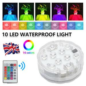 2x 16 Colour Remote Control RGB Changing Underwater Pond Aqua Mood LED Lights