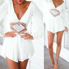 Women' Sexy Chiffon Long Sleeve Hollow Lace Jumpsuit Playsuit Short Trousers