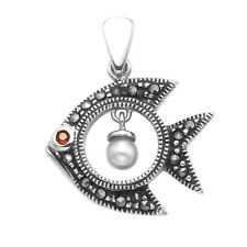 Sterling Silver and Marcasite Angle Fish Pendant- MPD8
