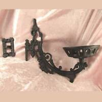 "Victorian style iron WALL BRACKET 11"" for old antique oil or kerosene lamp font"