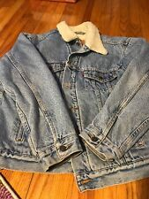 LEVIS JEAN JACKET SHERPA LARGE DISTRESSED TRUCKER CHORE COAT