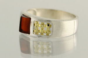 Glittering Cognac Color Genuine BALTIC AMBER Unisex Silver Ring 7.75 180703-26