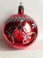Vintage Stencil Shiny Brite ? Rare Christmas Ornament Red Silver Bells 3""