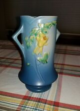 "Vintage 1940's Roseville ""Columbine"" Vase #20-8"", Light/Dark Blue with Handles"
