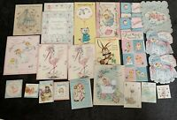 24 Vintage BABY Congratulations Shower Greeting Cards Norcross Feathers Girl