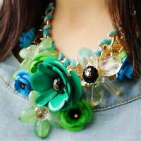 Crystal Flower Choker Bib Chunky Statement Chain Necklace Women Jewelry Trend