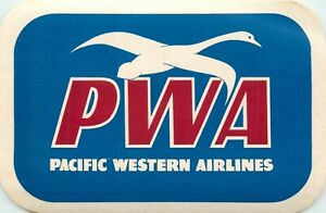 PACIFIC WESTERN AIRLINES ~Canada~ Historic Luggage Label, c. 1950