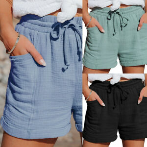 Damen Shorts Bermuda Leinen Hose Kurze Stoffhose Freizeithose Sommer Baggy Hose