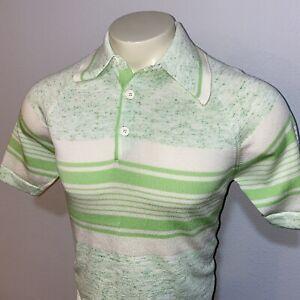Vtg 50s 60s DONEGAL Coleseta Shirt Stretchy Banlon Green Mid Century MENS MEDIUM