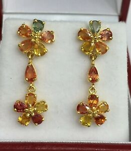 14k Solid Yellow Gold Flower Dangle Stud Earrings, Natural Color Sapphire
